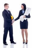 Partners expressing trust by handshake after concluding bargain, Stock Photo