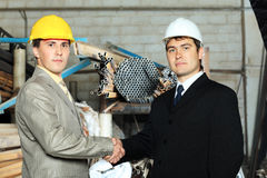 Partners on a factory Royalty Free Stock Photo