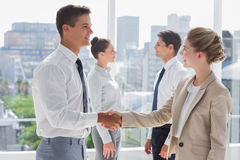 Partners giving a handshake. In a bright office Royalty Free Stock Photos