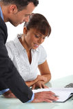 Partners going over company accounts Stock Photography