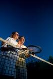 partners hög tennis Royaltyfria Bilder