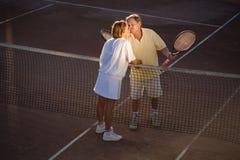 partners hög tennis Arkivfoto