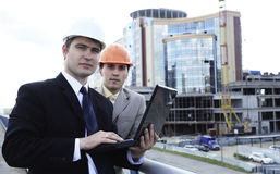 Partners at a site area Stock Photos