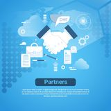 Partners Web Banner With Copy Space On Blue Background Business Partnership Hand Shake Concept. Vector Illustration Stock Images