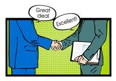 Partnerschaftshändedruck zur GeschäftserfolgPop-Art Stockfotografie