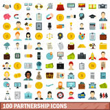 100 Partnerschaftsikonen eingestellt, flache Art Stockfotos