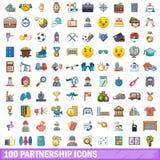 100 Partnerschaftsikonen eingestellt, Karikaturart Stockfoto
