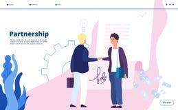 Partnerschaftslandung Geschäftsmarketing-Partnerschaftsgemeindeführer-Verhältnis-Geschäftsmanndigitale Startpartner stock abbildung