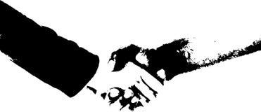 Partnership. People shaking hands logo. I am the artist Stock Photo