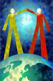 Partnership. Two people making a gesture of peace and unity whilst standing on the earth Royalty Free Stock Image