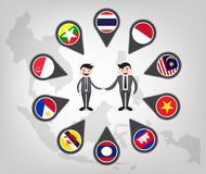 Partnership between asean country (aec) Royalty Free Stock Image