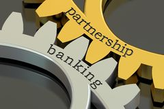 Partnership Banking concept on the gearwheels, 3D rendering Royalty Free Stock Photo