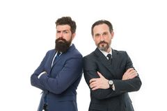 Partnership of boss men isolated on white. mature men boss have own business. business meeting. team success. Collaboration and teamwork. bearded businessmen royalty free stock image