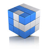 Partnership business concept. Cube assembled from two colours blocks Stock Image