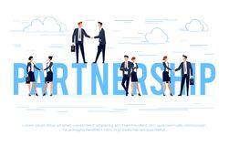 Partnership. Business concept in a flat style with businessmen s Stock Image