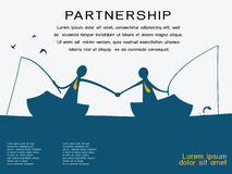 Partnership. Business man on going fishing on the boat and shaking hands to each other in partnership and corporation concept. Abstract background with copy Royalty Free Stock Photo