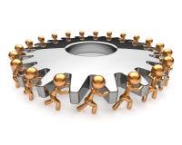 Partnership business process teamwork turning gearwheel. Action team work hard job men together. Brainstorming cooperation assistance activism community unity Royalty Free Stock Image