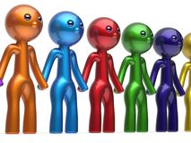 Partnership characters teamwork social network chain line Stock Photography