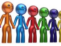 Partnership characters teamwork social network chain line. Partnership characters teamwork friendship social network chain line people diverse friends row Stock Photography