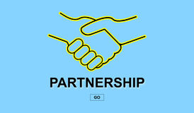 Partnership concept on blue background Royalty Free Stock Images