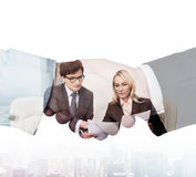 Partnership concept. Businesspeople working at meeting in office, partnership concept Royalty Free Stock Photo
