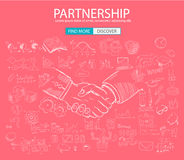 PartnerShip concept  with Doodle design style Stock Photography