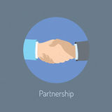 Partnership concept illustration. Flat design vector illustration poster concept of two business people hand shaking which  symbolizing partnership cooperation Royalty Free Stock Photo