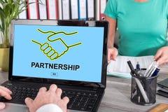 Partnership concept on a laptop. Laptop screen with partnership concept Stock Photo