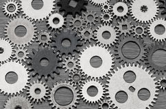 Partnership. Connected metal cogwheels background, a concept for teamwork and partnership Stock Photo