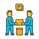 Partnership, contract signing flat line illustration, concept vector isolated icon Stock Photos