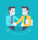 Partnership and Cooperation in Business. Two happy businessmen shake hands. Concept of traditional business Stock Images