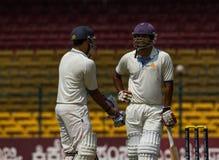Partnership cricket. Two batsmen engaged in a partnership stock image