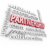 Partnership 3d Word Collage Team Association Alliance Stock Image