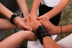 Partnership Diverse Group of People Hands Together Teamwork royalty free stock photos