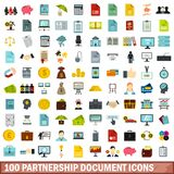 100 partnership document icons set, flat style. 100 partnership document icons set in flat style for any design vector illustration stock illustration
