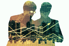 Partnership and financial growth concept. Two businesspeople silhouettes discussing something on abstract background with city and forex chart. Partnership and Stock Image