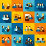 Partnership Flat Icons. Set with business executive and employees isolated vector illustration Royalty Free Stock Photos
