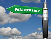Partnership fountain pen road sign Stock Image