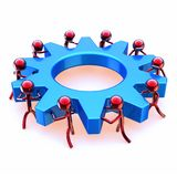 Partnership gear wheel team work, red men turning blue cogwheel vector illustration