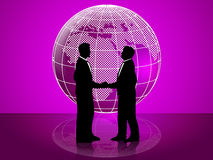 Partnership Globe Represents Working Together And Cooperation Royalty Free Stock Images