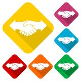 Partnership Hand shake arrows icons set with long shadow. Vector icon Stock Image