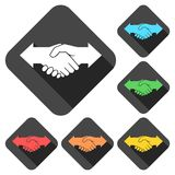 Partnership Hand shake arrows icons set with long shadow. Vector icon Royalty Free Stock Image