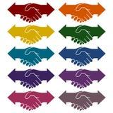 Partnership Hand shake arrows icons set. Vector icon Stock Photos