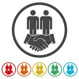 Partnership icon, Handshake, 6 Colors Included. Simple vector icons set Royalty Free Stock Photography