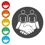 Partnership icon, handshake icon. Simple  icons set Stock Photo