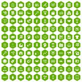 100 partnership icons hexagon green. 100 partnership icons set in green hexagon isolated vector illustration Stock Photo