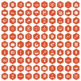100 partnership icons hexagon orange. 100 partnership icons set in orange hexagon isolated vector illustration Royalty Free Stock Photos
