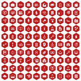 100 partnership icons hexagon red. 100 partnership icons set in red hexagon isolated vector illustration Stock Image