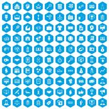 100 partnership icons set blue. 100 partnership icons set in blue hexagon isolated vector illustration Vector Illustration