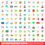 100 partnership icons set, cartoon style Stock Photo